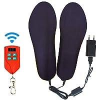 Jinpei Beheizbare Einlegesohlen Fußwärmer Beheizbare Thermosohle Kit mit Fernbedienung Schalter Drahtlose Wiederaufladbare batteriebetriebene Heizung Größe 4-15 (35-46), 1-Pair