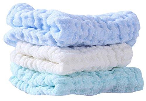 Happy Cherry Baby Handtuch Set Baumwolle Waschlappen 6-Schichten Musselin-Tuch Weich Babybadetuch Quadratisch Wiederverwendbar Babytücher 3 Stück Unifarben (Handschuh Mini Unisex)