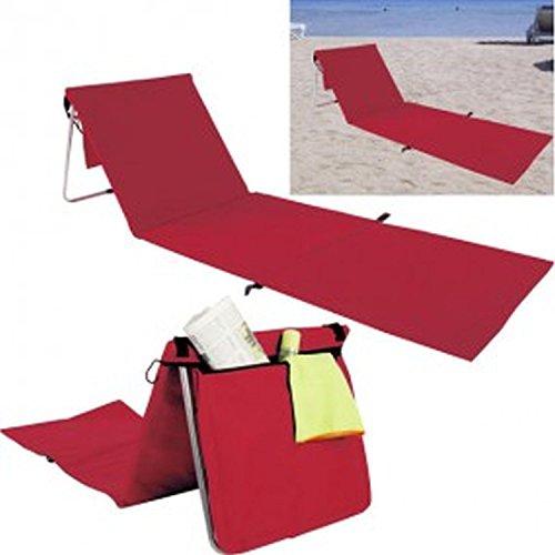 Sedia a sdraio da spiaggia, rosso, ca. 157x 55cm, pieghevole