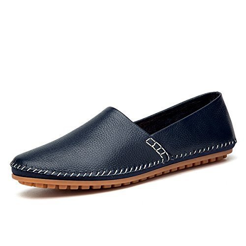 AFFINEST Männer Volltonfarbe Leder Slipper Loafer Schuhe Auto Fahren(EUR40 Blau) (Rindsleder Wildleder-handschuhe)