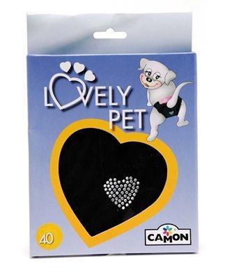 Schwarze Hundeschutzhose für Hündinnen mit Schleife und Diamantenherz - Gr. C (Bauchumfang 30 cm) -