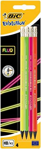 BIC 942053Fluo lápiz Evolution Fluo HB, con goma de borrar del eje de 4colores surtidos, Blister 4unidades)