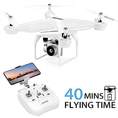 40MINS(20mins + 20mins)Long Flight Time Drone JJRC JJPRO H68 RC Quadcopter with Removeable 720P Camera FPV WiFi Helicopter with 2 Batteries Altitude Hold, Headless Mode, APP Control Best Drone(White)