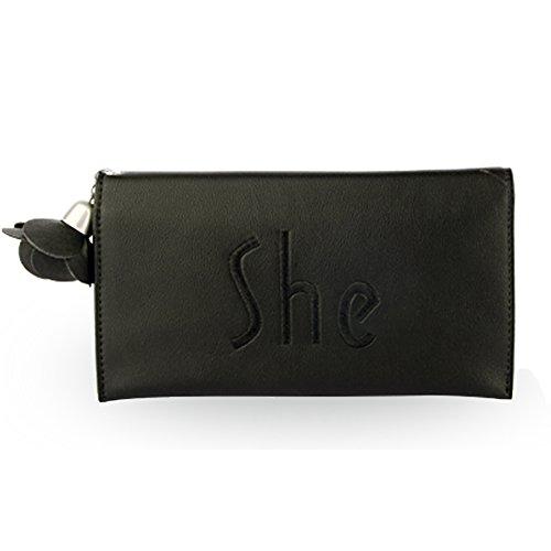 Woolala Donna'S Leather Portafoglio Slim Bifold Per Cash, Carte, Portafoglio Portafoglio Organizzatore Borsa Lunga Con Fiore Pendente, Verde Black