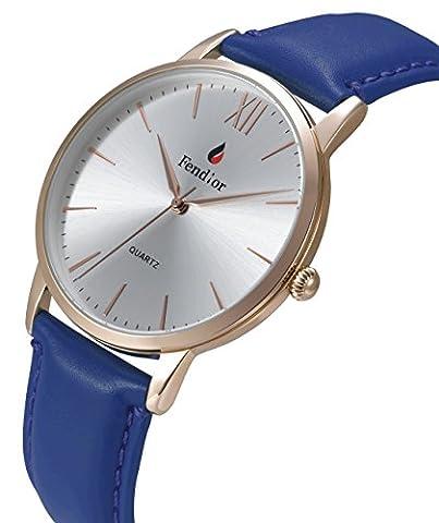 DMwatch Blau Leder Uhrenarmband Silber 40mm Watchcase Rose Gold Lünette Mode Wasserdicht Analoganzeige Quarz Wache Für Damen Und Herren