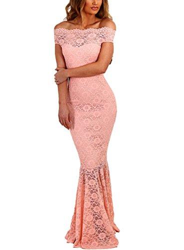 Größe Weiße Hochzeits-kleider Plus (Z-one Damen 1950er Retro Fishtail Büro Cocktail Kleid Meerjungfrau Aus Schulter Spitze Maxi Kleider (XL, Pink))