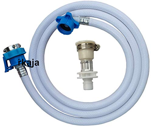Irkaja 2 Meter Flexible PVC Washing Machine Water Inlet/Inflow Hose Pipe with 2 Type Tap Adapters/Connectors for Front & Top...