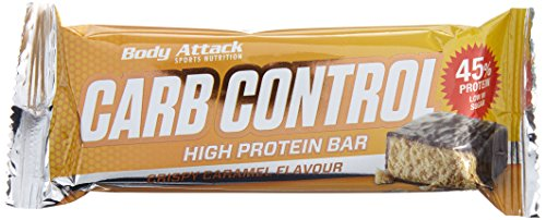 Body Attack Carb Control Protein Riegel 15x 100g (Box), Crispy Caramel, 15x100 g
