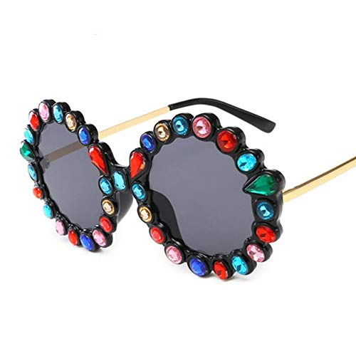 MINGMOU Strass Runde Sonnenbrille Modemarke Frau Farbe Big Frame Sonnenbrille Inspiriert Designer Brille Oculos, 2
