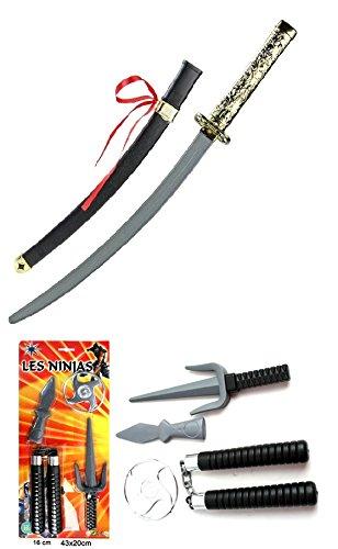 Kinder-Samurai-Spielzeug Karneval-Verkleidung Set Ninja-Schwert Kämpfer-Kostüm Katana 60cm Fasching Karneval Halloween
