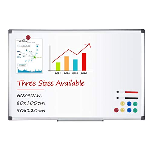 Tableau Blanc Tableau Magnétique 4 THOUGHT Office Tableau Effaçable Aimanté avec un Cadre en Aluminium 2 Stylo-feutres et 8 Aimants Parfait pour le Bureau la Maison et L'école (80 * 100)
