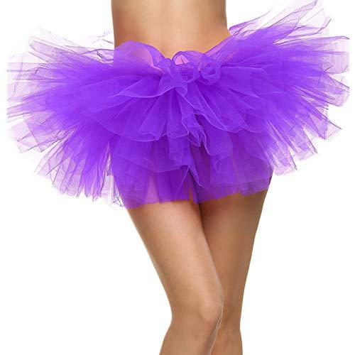 Ksnrang Damen Tüllrock Tütü Rock Minirock 5 Lagen Petticoat Tanzkleid Dehnbaren Tutu Rock Erwachsene Ballettrock für Party Halloween Kostüme Tanzen (Lila, Einheitsgröße) (Halloween-kostüm Für Erwachsene Tutus)