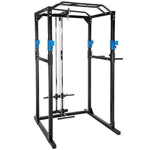TecTake Kraftstation Fitnessstation Power Rack Power Cage | Klimmzug-Doppelstange | Robuster Rahmen aus Stahlrohr - verschiedene Farben und Modelle (Blau Schwarz mit Latzug | Nr. 402598)