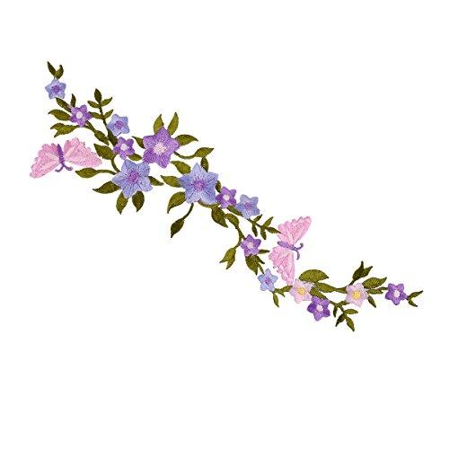 Iron On Patches, Beautiful Flower Aufnäher Patches, Vivid Farbe groß Stil Blossom Stickerei Aufnäher, exquisite Stickereien Aufnäher Patch für DIY Kleidung (28,5x 7cm) Flower Patch D (Kleidung Blau Vivid)