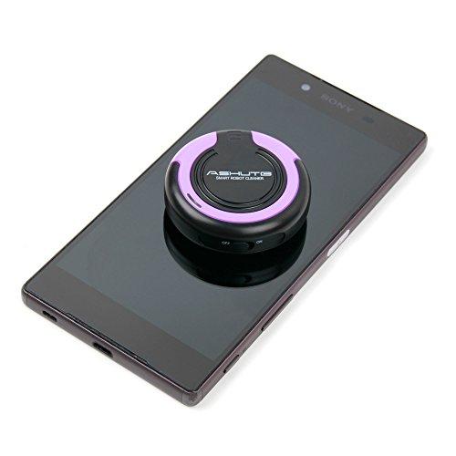 Mini robot nettoyant vibrant pour écran de smartphone + solution nettoyante 50ml + lingette microfibre BONUS par DURAGADGET de couleur noir et violet