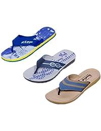 IndiWeaves Men Flip Flop House Slipper And Sandal-Grey/Black/Beige/Blue- Pack Of 3 Pairs