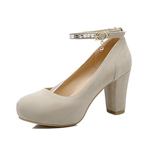 VogueZone009 Femme Suédé Mosaïque Boucle Rond à Talon Haut Chaussures Légeres Beige