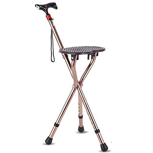 MILEKL Einstellbare Klapp Gehstock Stuhl Massage Gehstock mit Sitz, tragbare Angeln Rest Hocker mit LED-Licht für ältere -