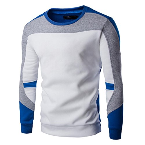 Wawer Coole Herren Casual Patchwork Top Pullover Swearshirt Abnutzung (Blau, M)
