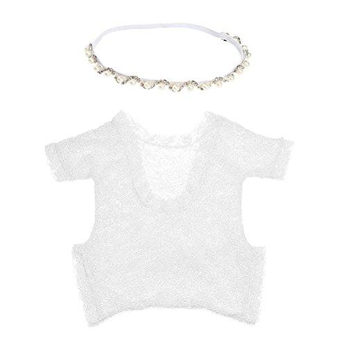 TOYMYTOY Neugeborenen Fotografie Requisiten, Infant Foto Outfits (weißer Strampler und Silber Halskette)