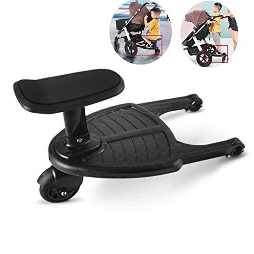 Tandou Buggyboard mit Sitz, Buggy Board am Kinderwagen Anzubringen - Abnehmbar und Zusammenbauen (Schwarz)