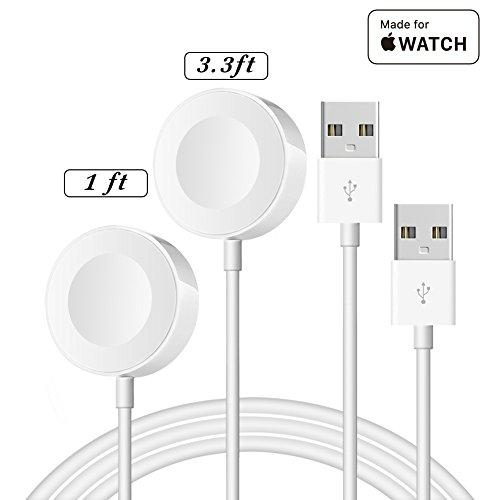 Preisvergleich Produktbild Ladekabel für Apple Watch [Apple MFi Zertifiziert] IQIYI (0.3m+1m) iWatch Magnetisches Ladekabel für Apple Watch / iWatch Series 1 / 2 / 3 / 4 38mm 40mm 44mm&42mm, Weiß 2pcs
