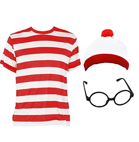 ILOVEFANCYDRESS Kinder ROT/Weiss 100% Baumwolle Walter T-Shirt MIT MÜTZE UND Brille=KURZEN ÄRMELN=DAS PERFEKTE ZUBEHÖR FÜR Film-BUCHWOCHEN KOSTÜM VERKLEIDUNG+Fasching-Karneval=Large