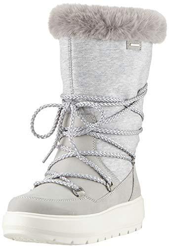 Geox D Kaula B ABX C, Botas de Nieve para Mujer, Gris (Lt Grey/Dk Grey C1037), 35 EU