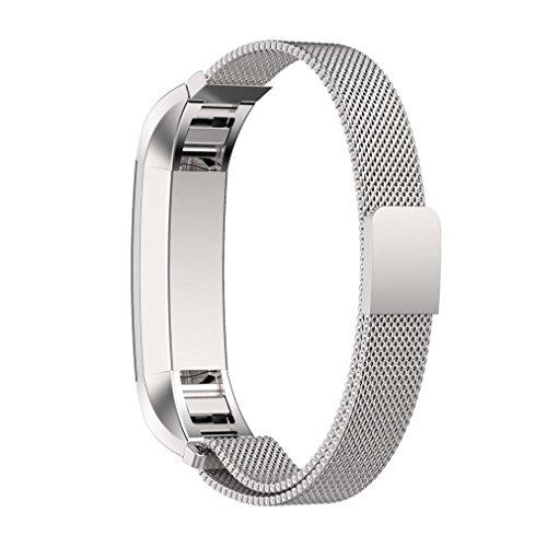 Kaiki für Fitbit Alta HR Armband,Magnetschleife Edelstahl Smart Watch Band + Schutzfolie für Fitbit Alta HR (Silver)