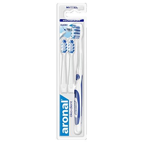 Aronal öko-dent Zahnbürste, mittel, 2er Pack (2 x 1 Stück) - Wechselkopf-zahnbürste