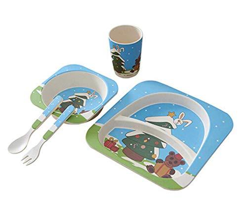 Tianchagn5 pz/set set di forchette per ciotole in fibra di bambù set di forchette per ciotole dinnerspoon set da tavola per piatti per bambini piatti set di stoviglie, a
