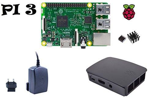 Raspberry Pi 3 Model B Starter Kit UK Version (1) Gehäuse / 2,5 A Netzteil / 2er Set Kühlkörper (Microsd-media-kit 1)