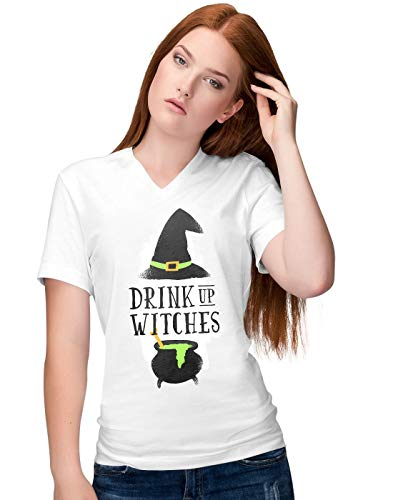 Funny Halloween Party Slogan Drink Up Witches Damen V-Neck T-Shirt XXL