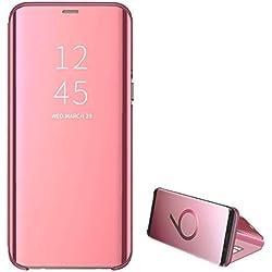Coque Compatible avec Samsung Galaxy S7 Edge Clear View Miroir PC Housse étui écran Protection Luxe Translucide 360° Flip View Cover Cas pour téléphone Galaxy S7 (Galaxy S7 Edge, Or Rose)