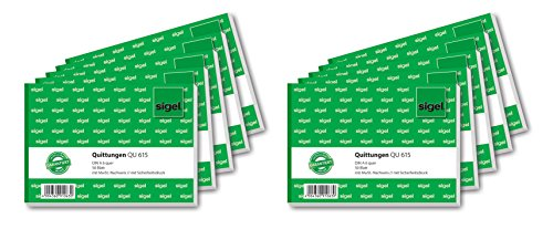 Sigel QU615/10 Quittungsblock A6 quer, 50 Blatt, 10er Pack