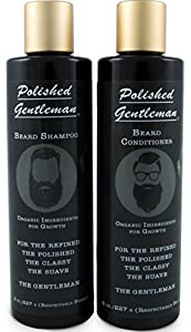 Polished Gentleman Beard Growth and Thickening Shampoo and Conditioner - With Organic Beard Oil - For Best Beard Look - For Facial Hair Growth - Beard Softener for Grooming by Polished Gentleman (118ml Small Beard)