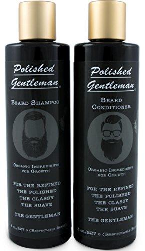 Polierte Gentleman Bart Growth und Verdickung Shampoo und Conditioner - Mit Bio Bart Öl - Für den besten Bart Look - Für Gesichtsbehaarung