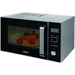 Medion Microondas con grill, 900W, grill de 1000W, combinación de microondas y grill de 23 L, 8 programas automáticos, función de descongelación, color plateado
