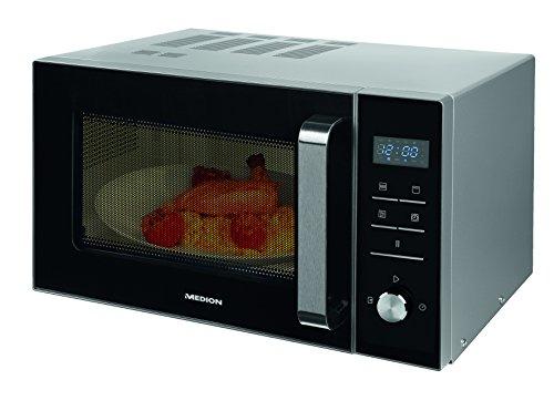 Medion MD 18042 - Microondas con grill, 900W, grill de 1000W, combinación de microondas y grill de 23 L, 8 programas automáticos, función de descongelación, color plateado