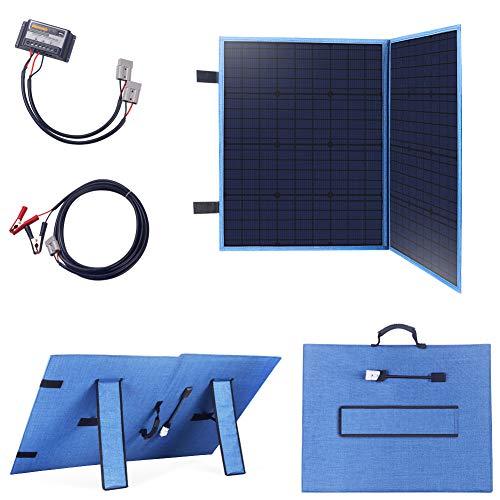 Betop-camp Tragbarer  Faltbares Solarpanel Mobiles monokristallinen Solarzellen 100W 12V mit 10A Laderegler Perfekt für Camping, Boot, und Adventure (Blau)