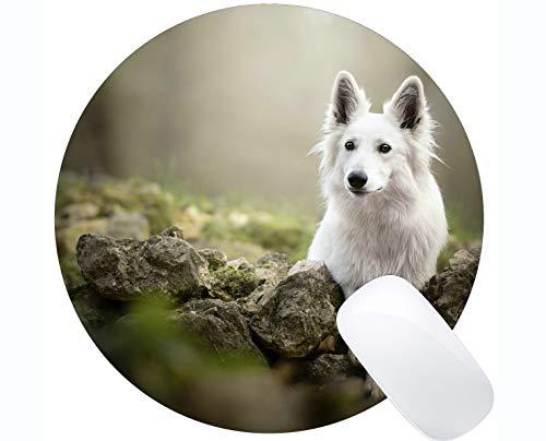 Runde Gaming-Mausunterlage aus Naturkautschuk, bedruckt mit Animal Belgian Malinois - Stitched Edges