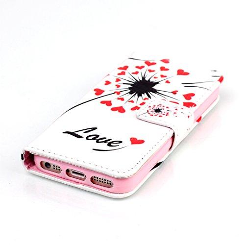 iPhone SE/5/5S Hülle im Bookstyle, Xf-fly® PU Leder Flip Wallet Case Schutzhülle für Apple iPhone SE/5/5S (4.0 Zoll) Tasche Handytasche mit Magnetverschluss Kartenfach Standfunktion Muster Handyhülle P-1