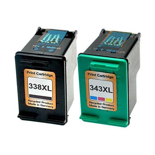 2 Logic-Seek Tintenpatronen kompatibel zu HP 338+344 C8765EE C9363EE - Schwarz 20 ml + Color 21ml -