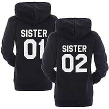 Sister Hoodie Set Best Friends Pullover Für Zwei Mit Kapuze BFF Sweatshirt  Pullis Mädchen Teenager Schwarz ced590c083