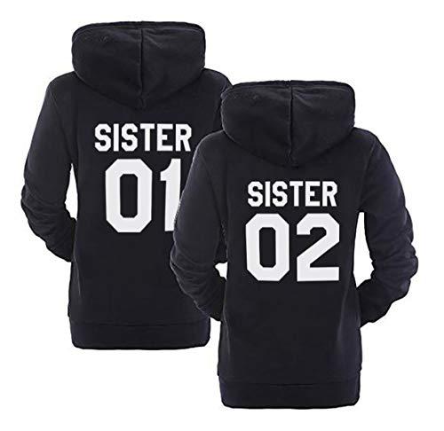 Sister Hoodie Set Best Friends Pullover Für Zwei Mit Kapuze BFF Sweatshirt Pullis Mädchen Teenager Schwarz Weiß Herbst Tops Kapuzenpullis Geschenk 2 Stücke( Schwarz,Sister-01-XS+Sister-02-XS) -