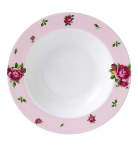 New Country Roses Modern Casual Rim Soup and Salad Bowl Color: Pink by Royal Albert (Pink Soup Bowl Rim)