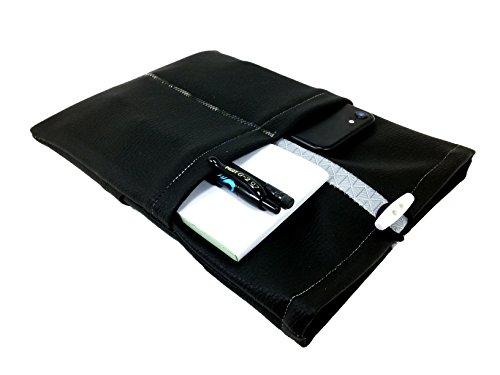 AnneSvea Tablet Tasche iPad® Mini 4 schwarz Kunstleder 8 Zoll vegan 4 Außentaschen / Zubehörfächer - passt für viele Geräte -