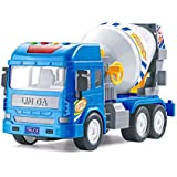 Emob® Friction Powered Real Mechanism Cement Mixer Construction Truck Toy With Light And Sound (Cement Mixer)
