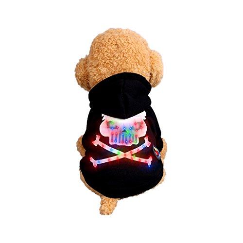 Abcsea Haustier Kostüm, Haustier Kleidung, Hund Kleidung, Haustier Glühen Kleidung, Leuchten Im Dunkeln, Hund Halloween Halloween Glühen Kostüm, Skelett Knochen Stil - Schwarz - L (Dunklen Hund Halloween-kostüm)