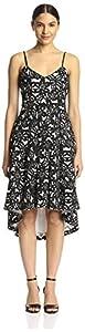 Badgley Mischka Women's Printed Dress with Full Skirt, Black/White, 2